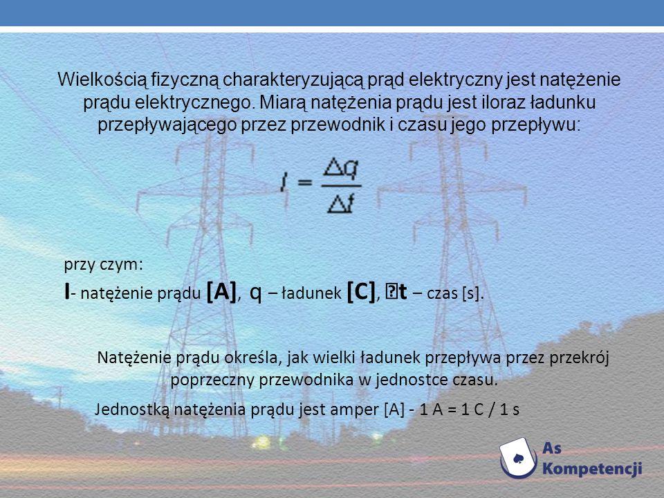I- natężenie prądu [A], q – ładunek [C], t – czas [s].